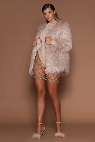 Arabella Faux Fur Coat - Nude - MESHKI