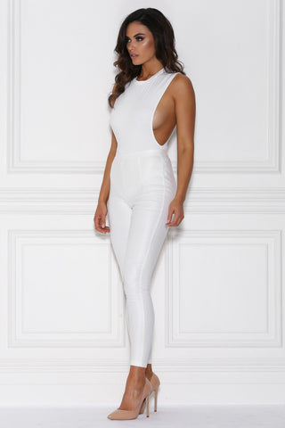 Assia Drop Armhole Bodysuit - White