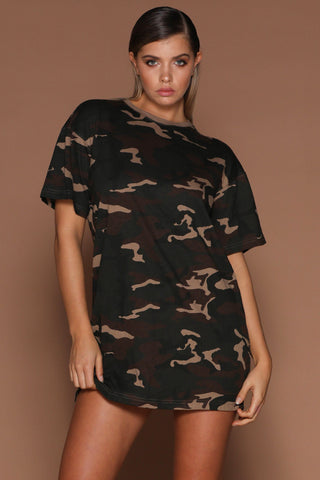 Jayla Oversized T-Shirt Dress - Camo [PRE-ORDER] - MESHKI