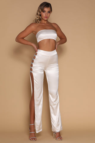 Sienna Diamante Panel Pants - Ivory - MESHKI