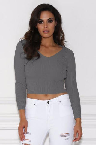 Zhanna Long Sleeve Knitted Crop Top - Grey