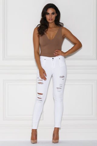 Kanya Distressed Skinny Jeans - White