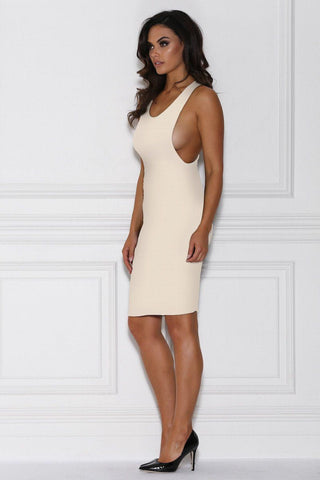 Maxen Drop Armhole Midi Dress - Nude