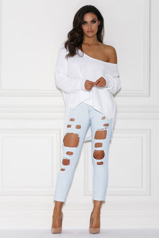 Emmeline Distressed Boyfriend Jeans - Light Blue Denim