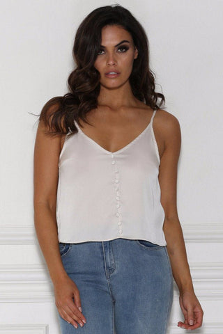 Tylda Button Detail Satin Crop Top - Stone