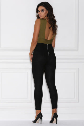 Peyton High Waisted Suede Pants - Black