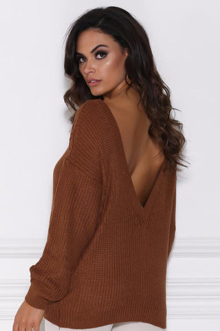 Lea Knitted Backless Jumper - Tan