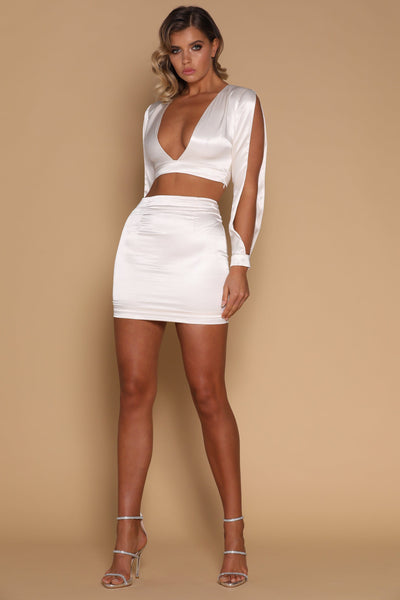 Verena Satin Mini Skirt - Ivory - MESHKI