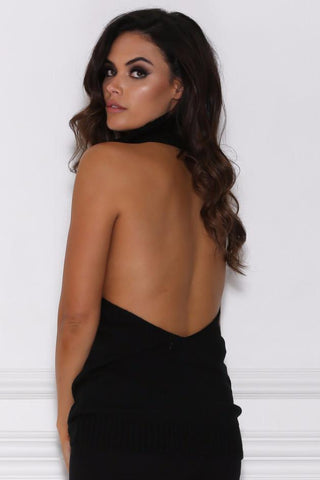 Alana Knitted Backless Halter - Black