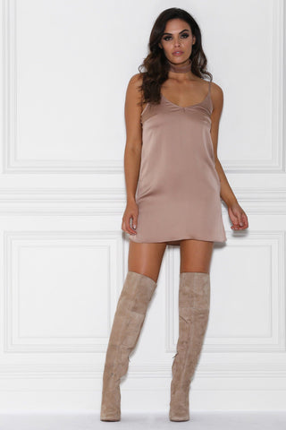 Abella Satin Choker Slip Dress - Mocha