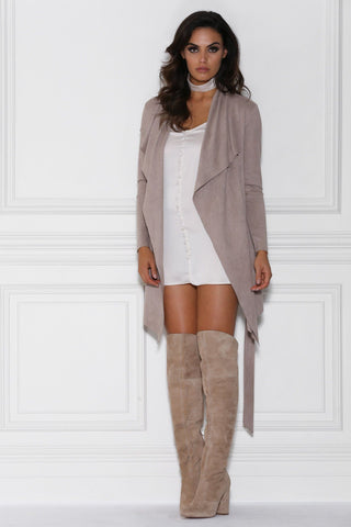 Lula Suede Waterfall Coat - Mocha