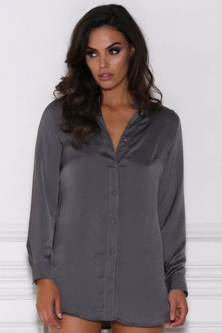 Arden Tie Up Shirt Top - Charcoal