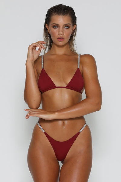 Rumi Diamante Bikini Top - Burgundy - MESHKI