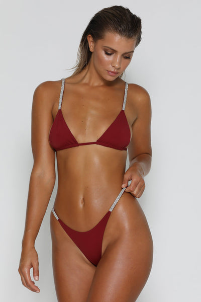 Rumi Diamante Bikini Bottoms - Burgundy - MESHKI