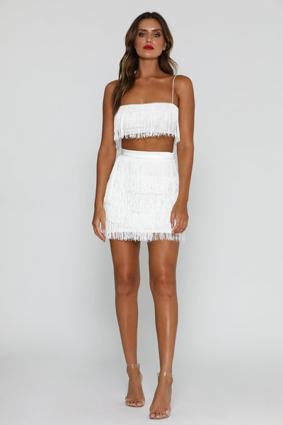 Sofia Fringe Mini Skirt - White - MESHKI