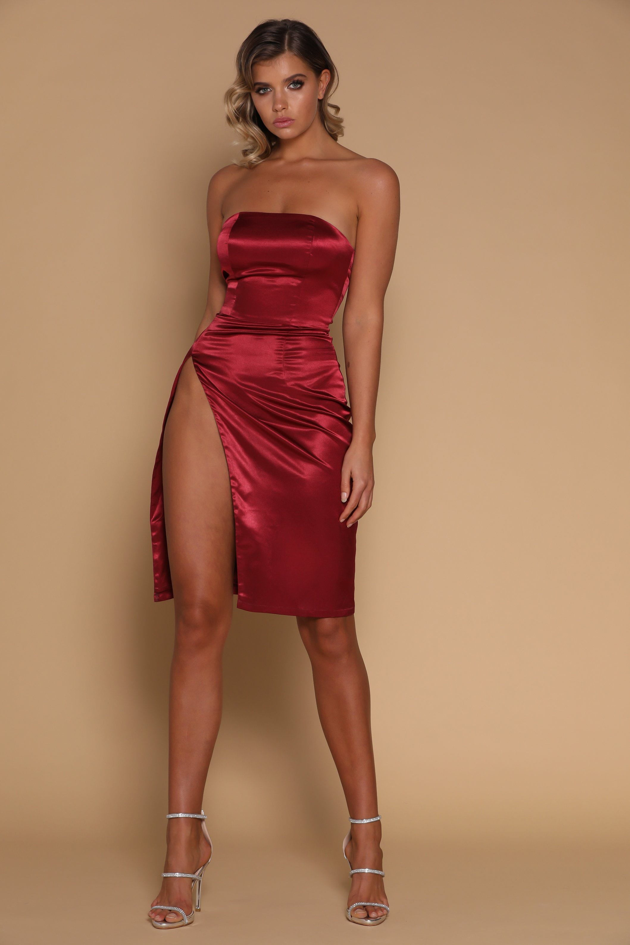 Strapless Satin Dress