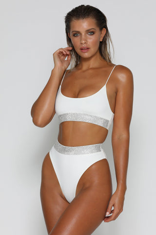 Amrosa Diamante Band Bikini Top - White - MESHKI