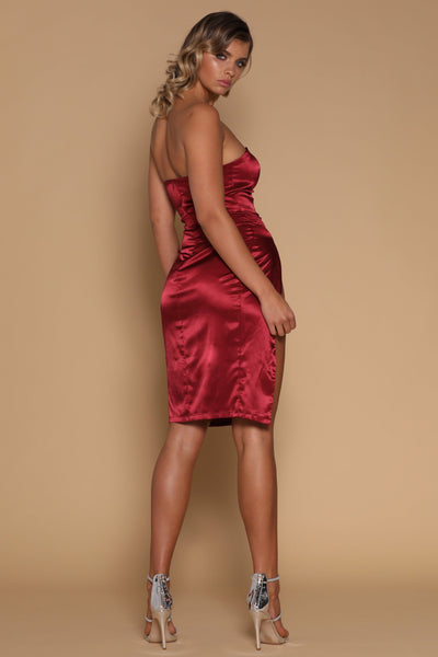 Alayna Satin Midi Dress - Burgundy - MESHKI
