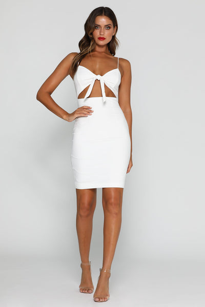 Davina Tie-Knot Midi Dress - White - MESHKI