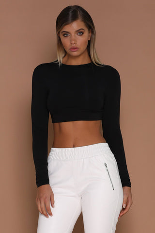 Mila Long Sleeve Crop Top - Black - MESHKI