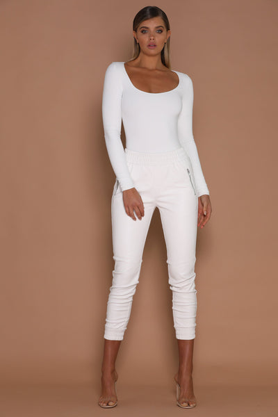 Koko Long Sleeve Bodysuit - White - MESHKI
