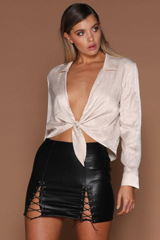 Rina Tie Up Shirt - Nude - MESHKI