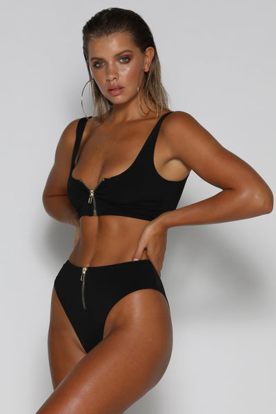Massika Zipper Bikini Bottoms - Black - MESHKI