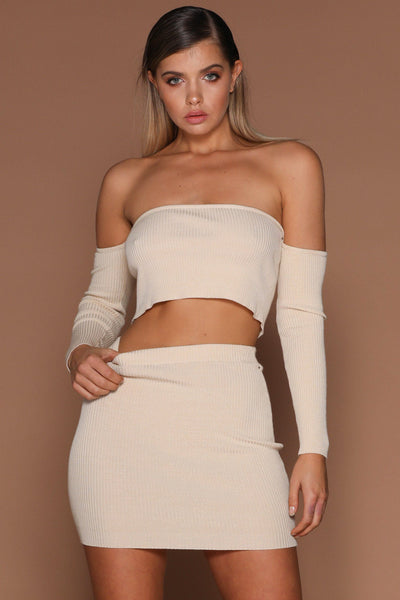 Elva Ribbed Off-Shoulder Set - Sand - MESHKI
