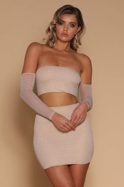 Valentina Off-Shoulder Crop Top - Champagne - MESHKI