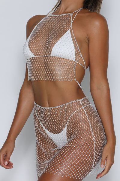 Dara Diamante Net Crop - White - MESHKI