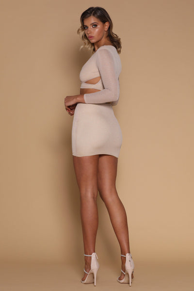 Lauretta Mini Skirt - Champagne - MESHKI
