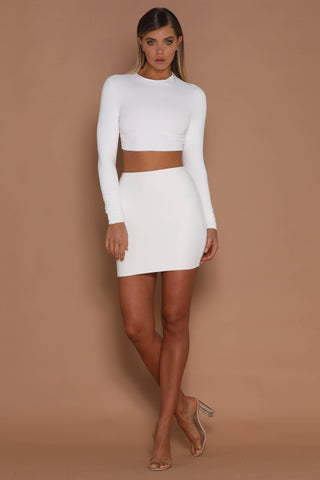 Mini Stretch Skirt - White ! - MESHKI