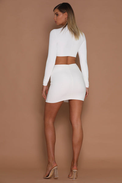 Gemma Mini Jersey Skirt - White - MESHKI