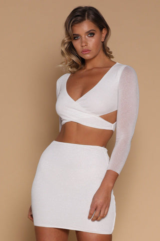 Gianna Cross Over Crop Top - White - MESHKI