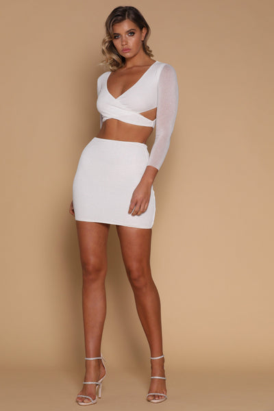 Lauretta Mini Skirt - White - MESHKI