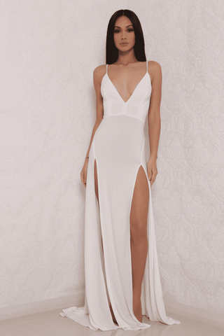 Elle Slinky Maxi Dress - White - MESHKI