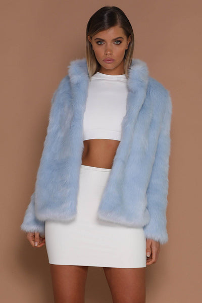 Baia Faux Fur Coat With Collar - Blue - MESHKI