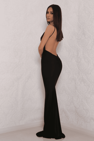 Celine Backless Maxi Dress - Black Slinky - MESHKI