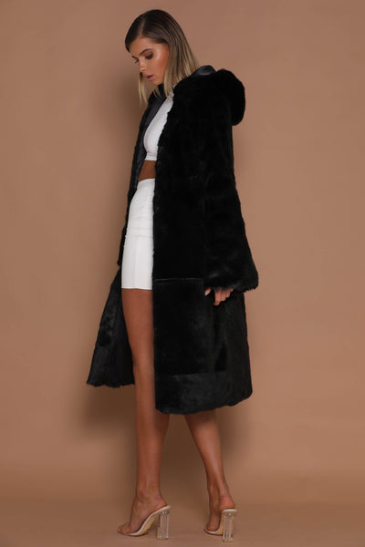 Tamara Faux Fur Coat with Hoodie - Black - MESHKI