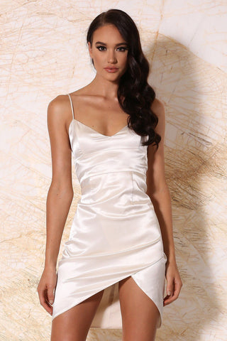 Estella Satin Mini Dress - Ivory