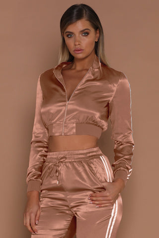 Kylia Satin Sweat Jacket - Rose Gold - MESHKI