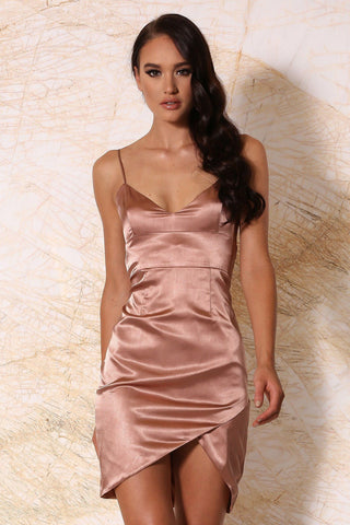 Estella Satin Mini Dress - Rose Gold