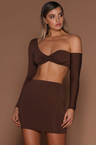 Tameena Crop Top - Chocolate [PRE-ORDER] - MESHKI