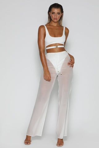 Reena Chiffon Draw String Pants - White - MESHKI