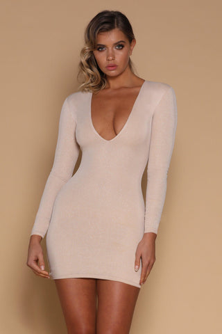 Kalia Long Sleeve Mini Dress - Champagne - MESHKI