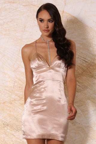 Sabrina Satin Mini Dress - Blush