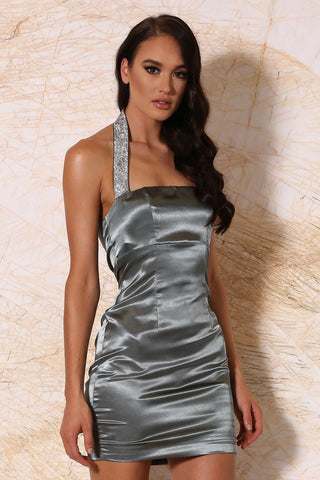 Calista Satin Halter Mini Dress - Sage