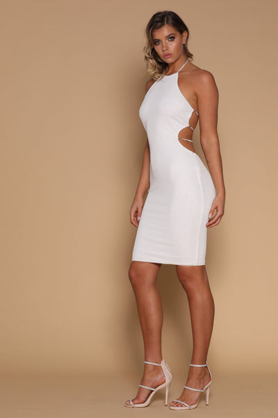 Azizi Diamante String Midi Dress - White - MESHKI