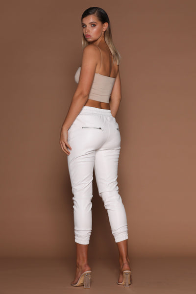 Dahlia Faux Leather Joggers - White - MESHKI
