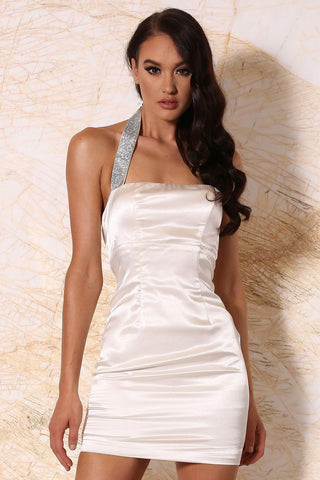 Calista Satin Halter Mini Dress - Ivory
